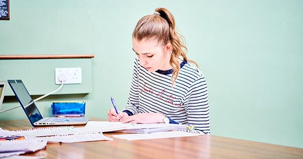 student studying in a room