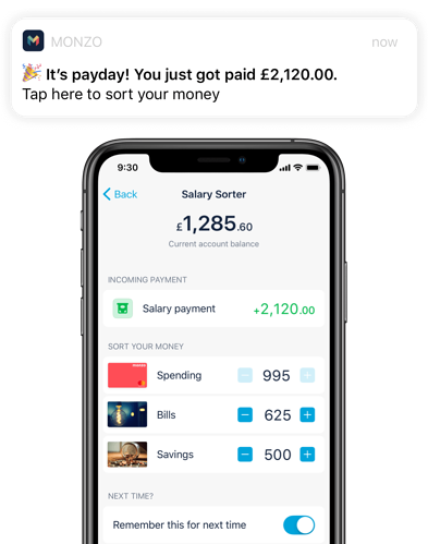 monzo money app screenshot